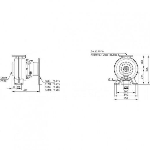 Насос для отвода сточных вод блочной конструкции со встроенным стандартным электродвигателем фекальный насос WILO RexaBloc RE 08.52W-260DAH132M-4 арт. 6077595