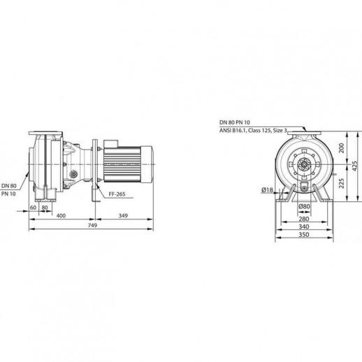 Насос для отвода сточных вод блочной конструкции со встроенным стандартным электродвигателем фекальный насос WILO RexaBloc RE 08.52W-200DAH112M-4 арт. 6077598