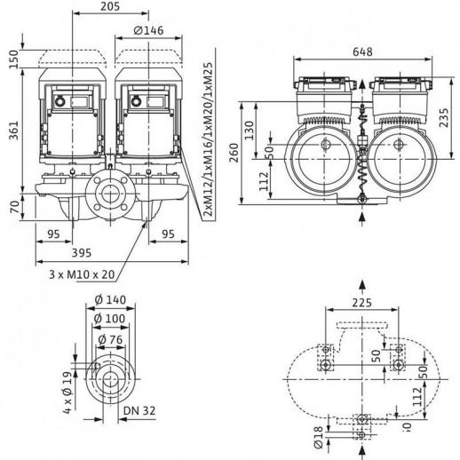 Циркуляционный насос с сухим ротором в исполнении Inline с фланцевым соединением WILO VeroTwin-DP-E 32/135-1,1/2-R1 арт. 2159002