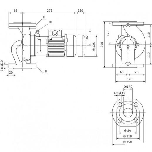 Циркуляционный насос с сухим ротором в исполнении Inline с фланцевым соединением WILO VeroLine-IPL 40/80-0,09/4 арт. 2089695