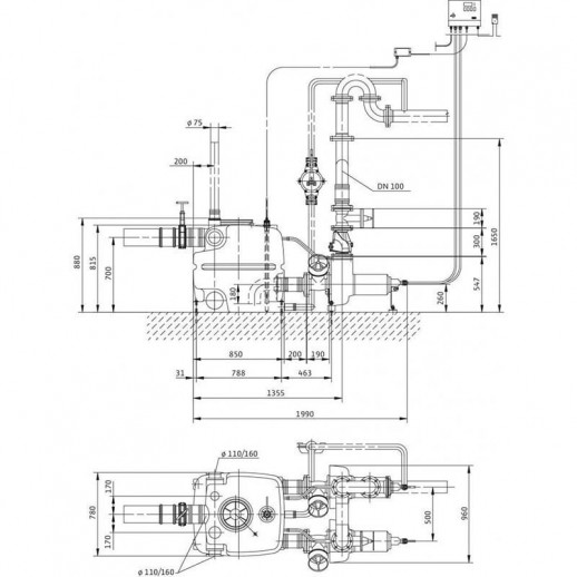 Напорная установка отвода сточной воды WILO DrainLift XXL 1040-2/5,2 арт. 2509015