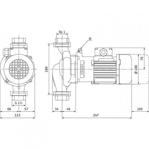 Циркуляционный насос с сухим ротором в исполнении Inline с фланцевым соединением WILO VeroLine-IPL 25/70-0,12/2 арт. 2089569