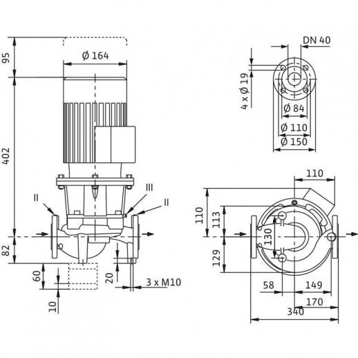 Циркуляционный насос с сухим ротором в исполнении Inline с фланцевым соединением WILO CronoLine-IL 40/150-0,37/4 арт. 2786163